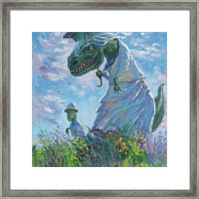 Dinosaur And Son With A Parasol  Framed Print by Martin Davey