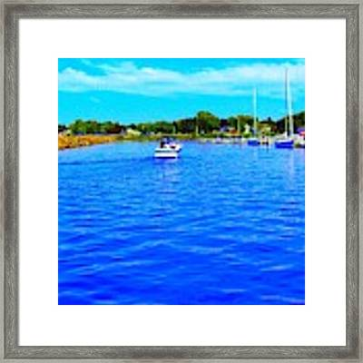 Dunkirk New York Harbor With Neon Effect By Rose Santucisofranko Framed Print by Rose Santuci-Sofranko