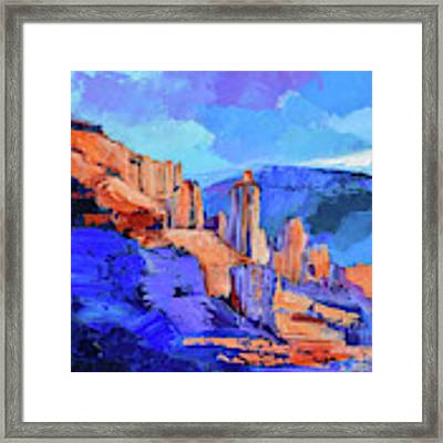 Fisher Towers Light And Shadow - Moab  Framed Print by Elise Palmigiani