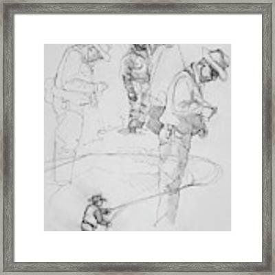 Fly Fisherman Sketch Framed Print by Jani Freimann