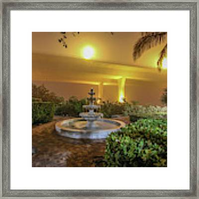 Foggy Fountain And Bridge Framed Print by Tom Claud