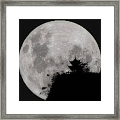 Full Moon Behind Clifftop Gazebo In Chengdu China Framed Print by William Dickman