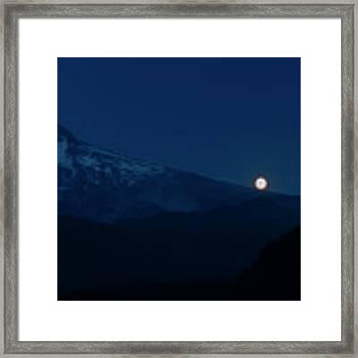 Full Moon On Mt. Hood Flanks Framed Print by Dee Browning