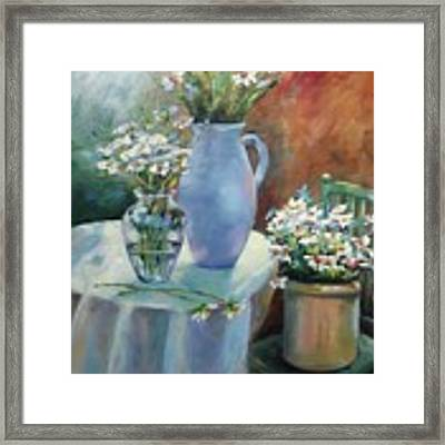 Garden Daisies Framed Print by Wendy Ray