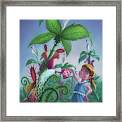 Girl Watering Horror Plants Framed Print by Martin Davey