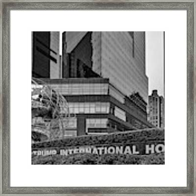 Globe Sculpture At Trump Hotel Bw Framed Print by Susan Candelario