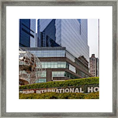 Globe Sculpture At Trump Hotel Framed Print by Susan Candelario