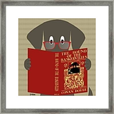 Gray Dog Reading Framed Print by Donna Mibus