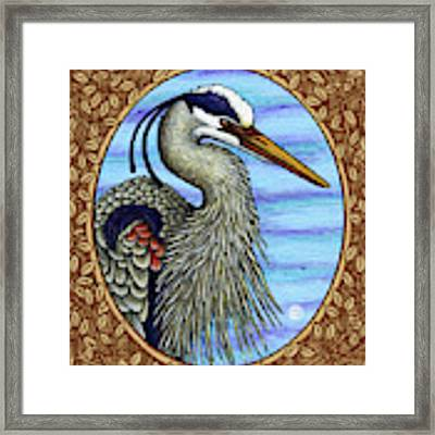 Great Blue Heron Portrait - Brown Border Framed Print by Amy E Fraser