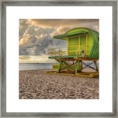 Green Lifeguard Stand Framed Print by Alison Frank