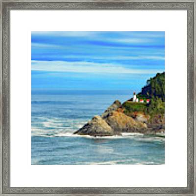 Haceta Head Lighthouse Framed Print by Mel Steinhauer