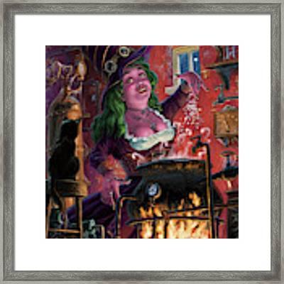 Happy Steam Punk Witch Framed Print by Martin Davey