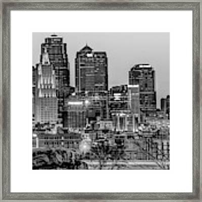 Kansas City Skyline At Dawn - Monochrome Framed Print by Gregory Ballos