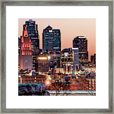 Kansas City Skyline At Red Dawn Framed Print by Gregory Ballos
