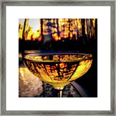 Sunset In A Glass Framed Print by Atousa Raissyan