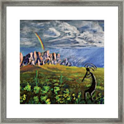 Kokopelli And The Superstition Mountains Framed Print by Chance Kafka