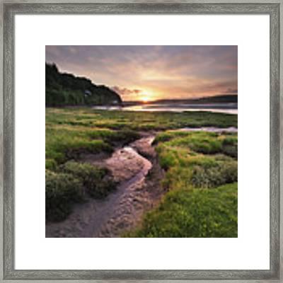 Laugharne Estuary At Sunrise Framed Print by Elliott Coleman