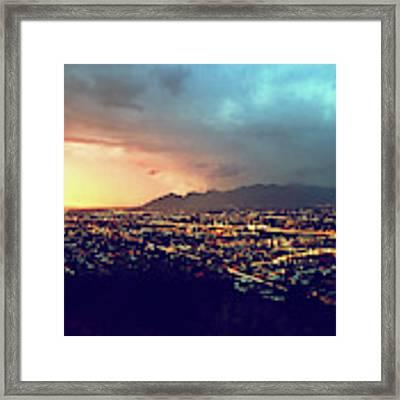 Lights Of Tucson, Arizona During Monsoon Sunset Rains Framed Print by Chance Kafka