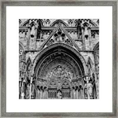 Lincoln Cathedral Side Entrance Monochrome Framed Print by Scott Lyons