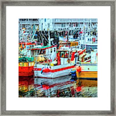 Line Up Of Fishing Boats Framed Print by Debra and Dave Vanderlaan