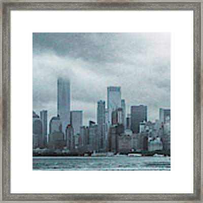 Lower Manhattan Panorama Framed Print by Judy Hall-Folde