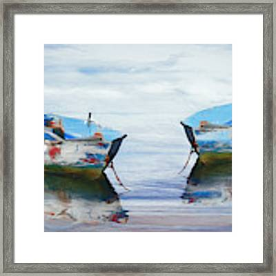 Make It A Double Watercolors Painting With Wood Textures Framed Print by Debra and Dave Vanderlaan