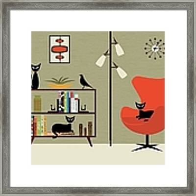 Mid Century Bookcase Room Framed Print by Donna Mibus