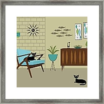 Mid Century Modern Room Framed Print by Donna Mibus