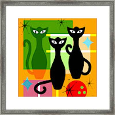 Mid Century Modern Abstract Mcm Bowling Alley Cats 20190113 Square Framed Print by Wingsdomain Art and Photography