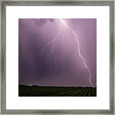 Mid July Nebraska Lightning 019 Framed Print by Dale Kaminski