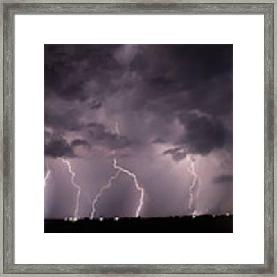 Mid July Nebraska Lightning 020 Framed Print by Dale Kaminski