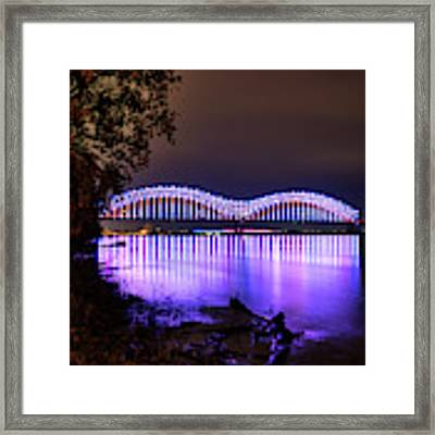 Mighty Lights Of The Hernando Desoto Bridge 001 Framed Print by Lance Vaughn