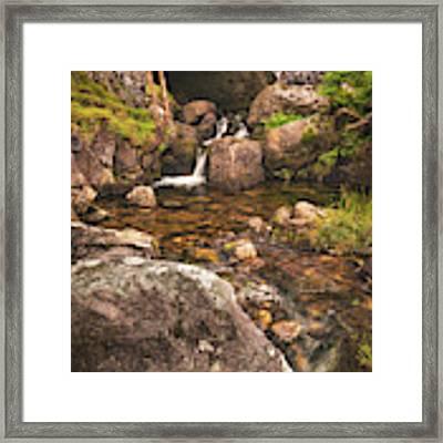 Nant Gaws Waterfall And Old Stone Bridge Framed Print by Elliott Coleman