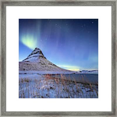 Northern Lights Atop Kirkjufell Iceland Framed Print by Nathan Bush