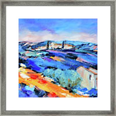 Olive Trees, Blue Hills And Lavender Framed Print by Elise Palmigiani