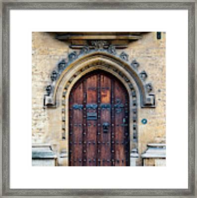 Oxford University Wooden Door Framed Print by Tim Gainey