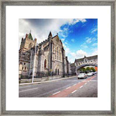 panorama of The Cathedral of Dublin Framed Print by Ariadna De Raadt