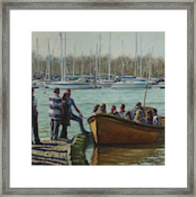 Passengers Boarding The Hamble Water Taxi In Hampshire Framed Print by Martin Davey