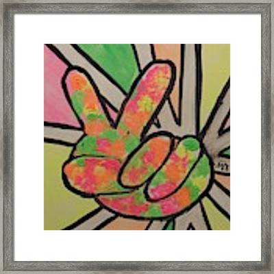 Peace Sign Framed Print by Saundra Johnson