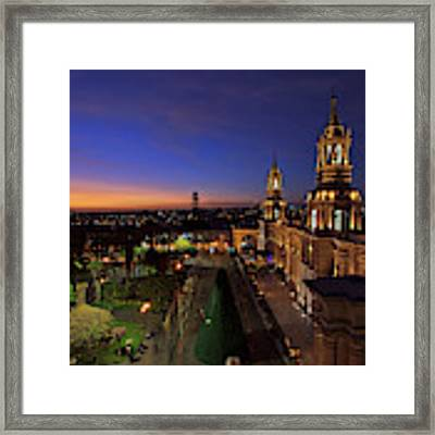 Plaza De Armas And Cathedral Of Arequipa, Peru Framed Print by Sam Antonio Photography
