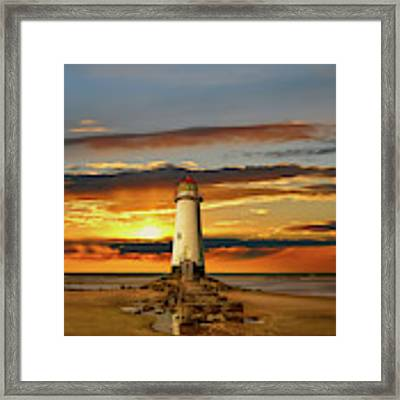 Point Of Ayr Lighthouse Sunset Framed Print by Adrian Evans