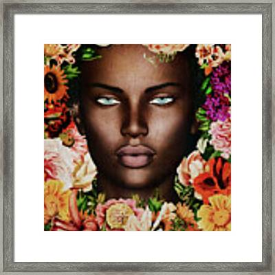 Portrait Of African Woman Surrounded With Flowers Framed Print by Jan Keteleer