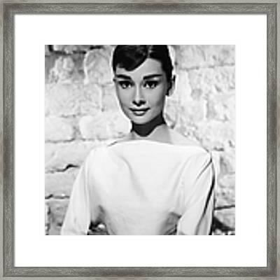 Portrait Of Audrey Hepburn Framed Print by Hulton Archive