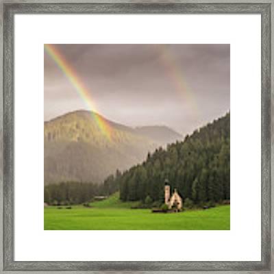 Rainbow Over St  Johann Framed Print by James Billings