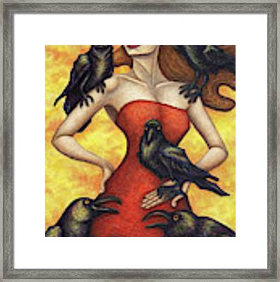 Raven's Council Framed Print by Amy E Fraser