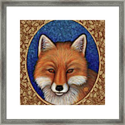 Red Fox Portrait - Brown Border Framed Print by Amy E Fraser