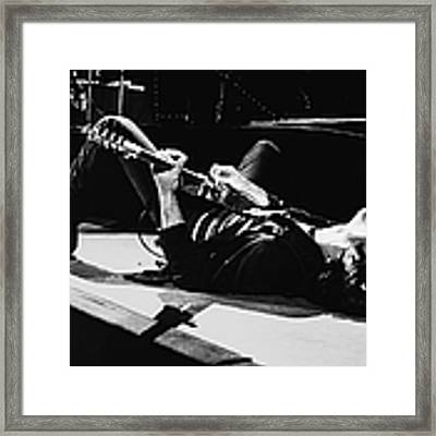 Rock Singer Bruce Springsteen In Concert Framed Print by George Rose