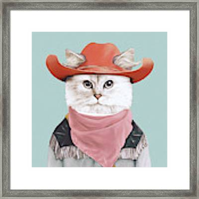 Rodeo Cat Framed Print by Animal Crew