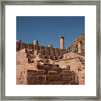 Roman Temple In Petra Framed Print by Mae Wertz