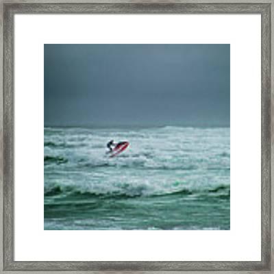 Shooting The Surf Framed Print by Judy Hall-Folde